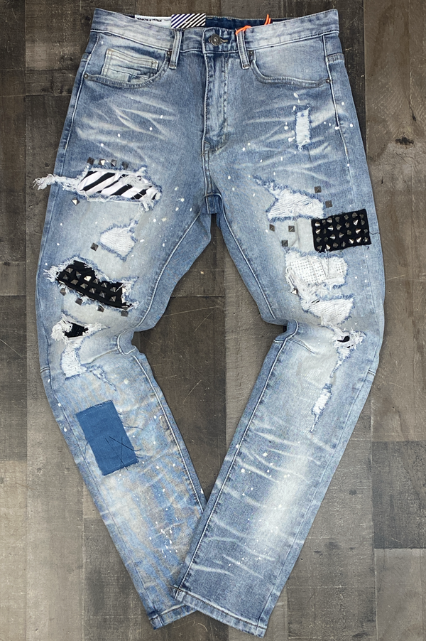 Smoke rise- jeans w/studded patches