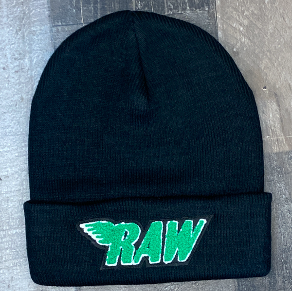 Rawyalty- raw chenille patch knit hat (black/green)