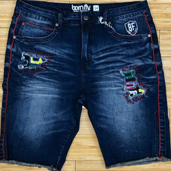 Born fly- bf patches denim shorts