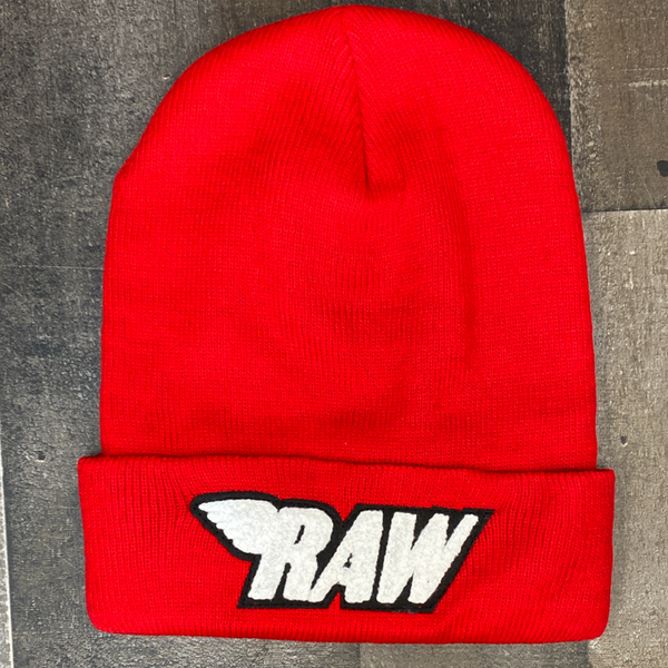 Rawyalty- raw chenille patch knit hat (red/white)