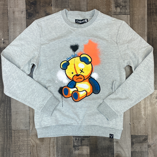 Civilized- bear paint blast crewneck
