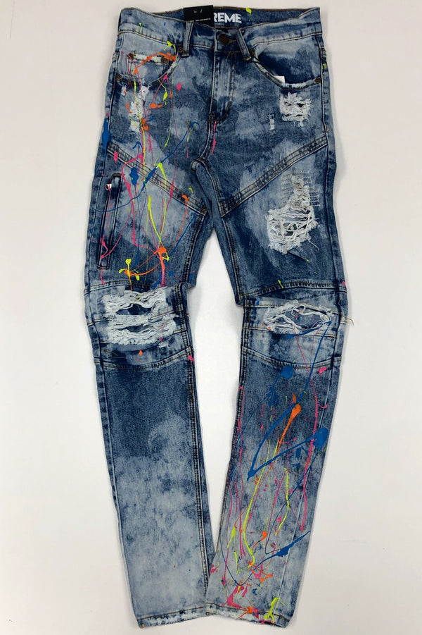 Preme- paint splattered denim jeans