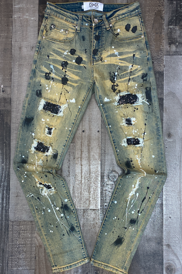 Dna Premium Wear- studded color patch jeans ( tan/black)