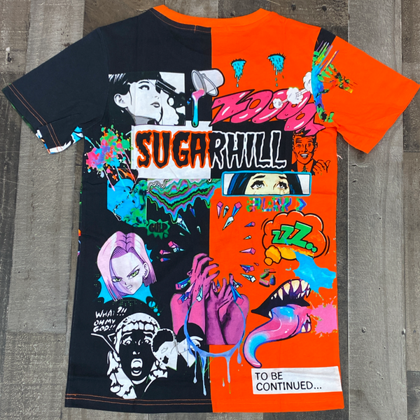 Sugarhill- split psycho ss tee (orange/black)