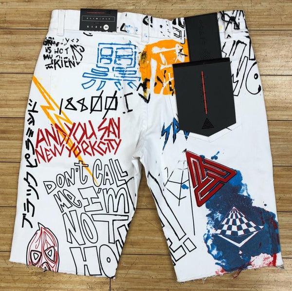 Black Pyramid- white sketchy denim shorts
