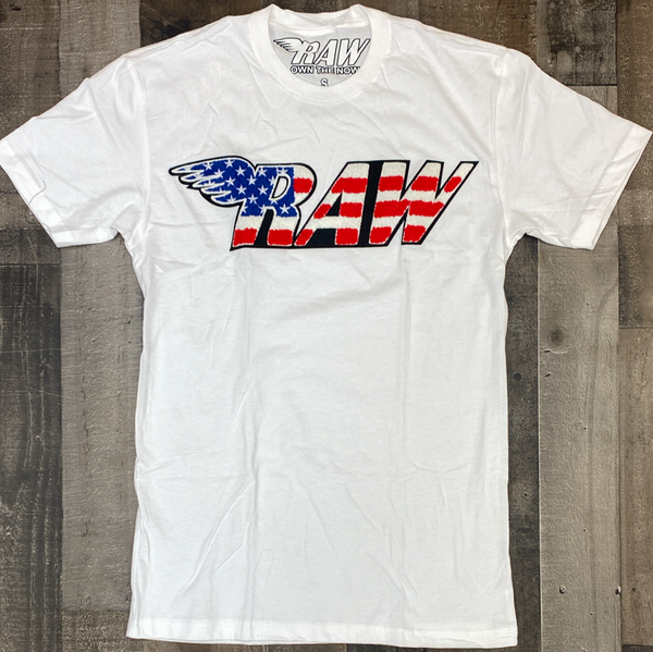 Rawyalty- USA raw chenille patch ss tee (white)