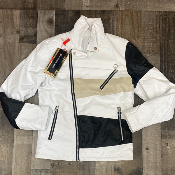 Hard Soda- leather color patch jacket (white/black)