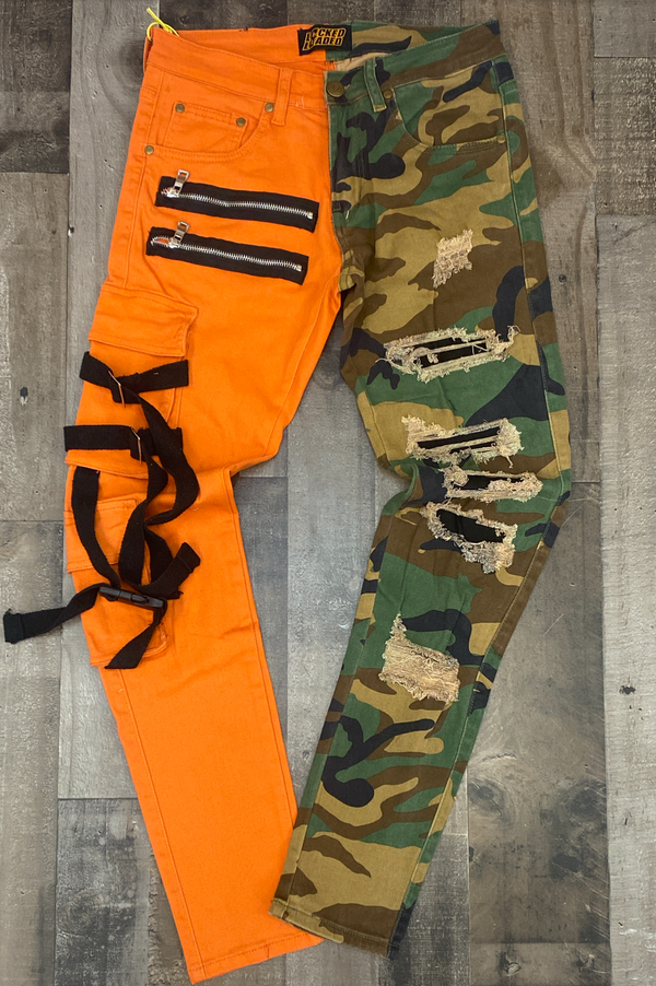 Locked Loaded- split strapped jeans (orange/camo)