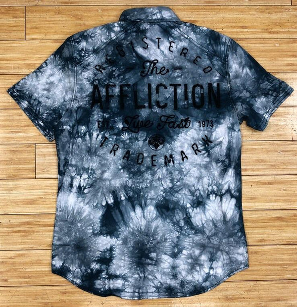 AFFLICTION-GRAY FLYWHEEL SS WOVEN