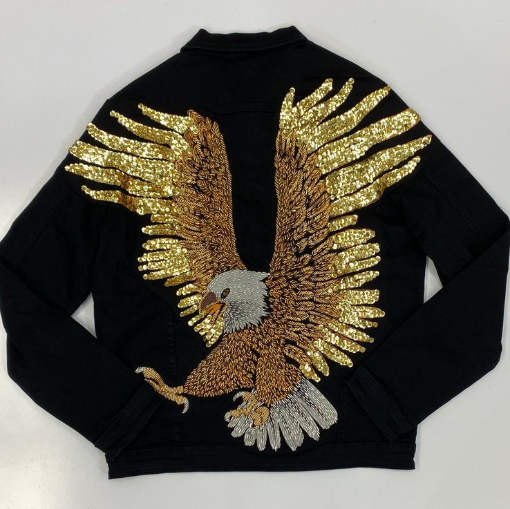 Rawyalty- eagle beads jean jacket