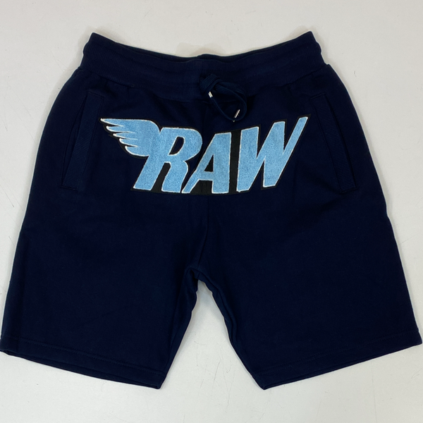 Rawyalty-raw chenille patch shorts (navy)