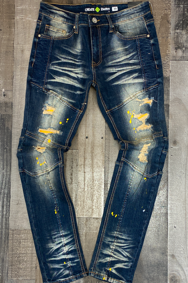Create Tmrw- Moto color patch jeans