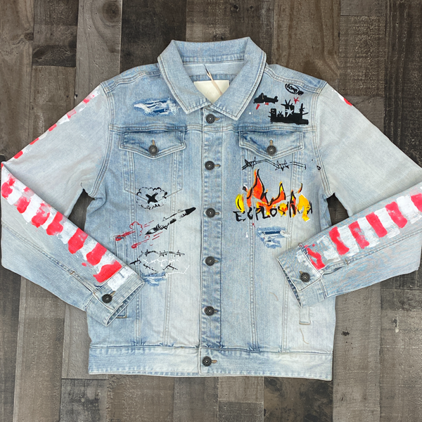 Kloud 9- denim jacket w/graffiti sides
