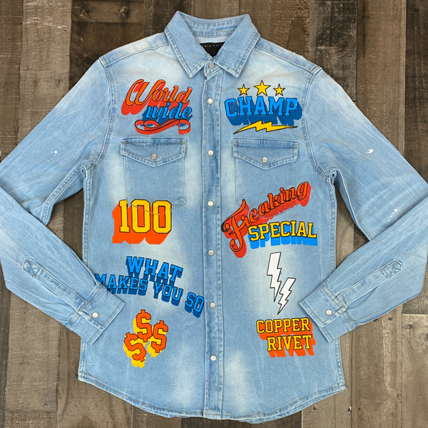 Copper Rivet- denim jacket w/print