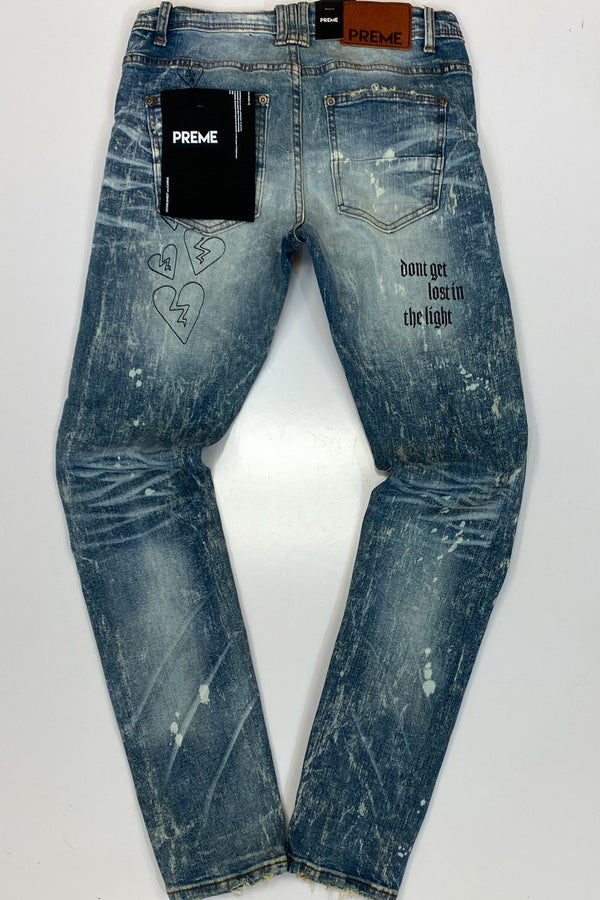 Preme- black spray denim jeans