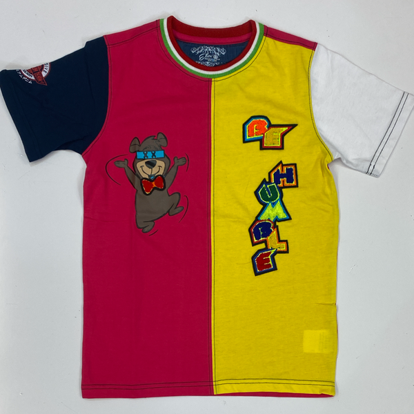 Elite- humble bear ss tee pink/yellow (kids)