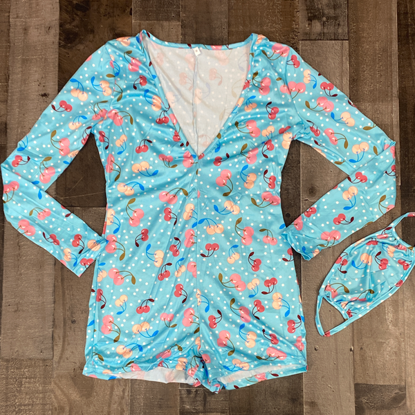 Honeytrap- cherries, cards & love romper (women)