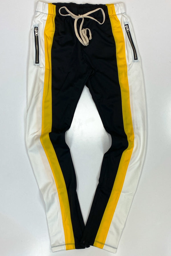 Eptm- block track pants(black/yellow/offwhite)
