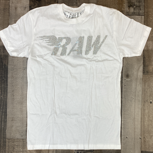 Rawyalty- studded raw ss tee (white/clear)