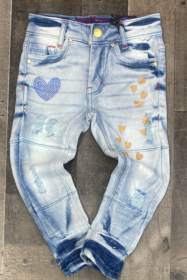 Elite- blue heart girls jeans (kids)