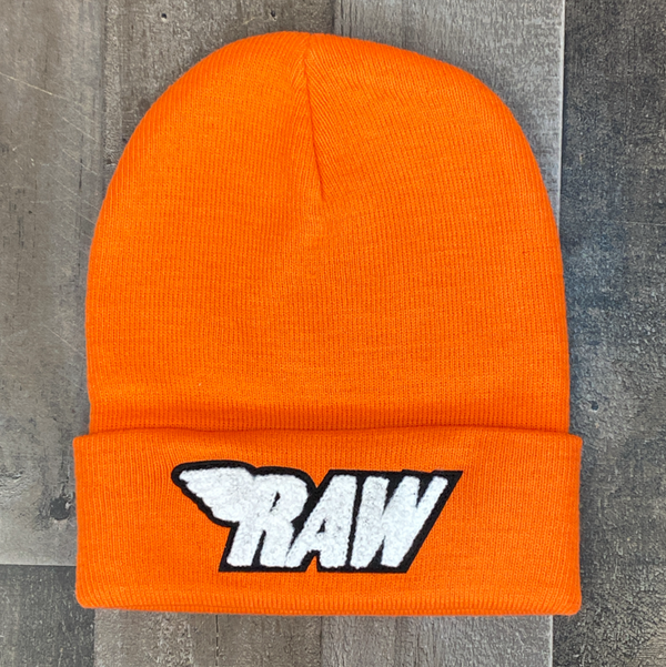 Rawyalty- raw chenille patch knit hat (orange/white)
