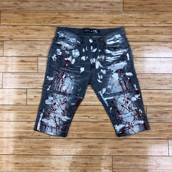 LAGUNA BEACH-GRAY W/SILVER FOIL &RED PAINT SHORTS