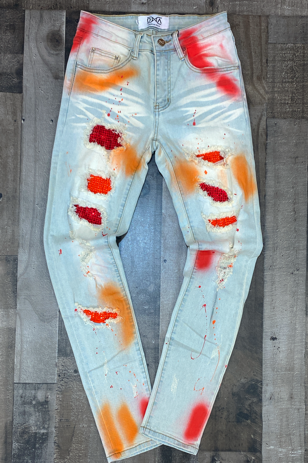 Dna Premium Wear- studded patch w/spray paint jeans (red/orange)