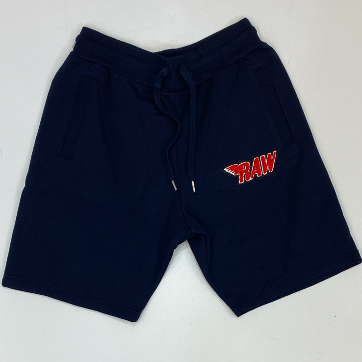 Rawyalty-small raw chenille patch shorts