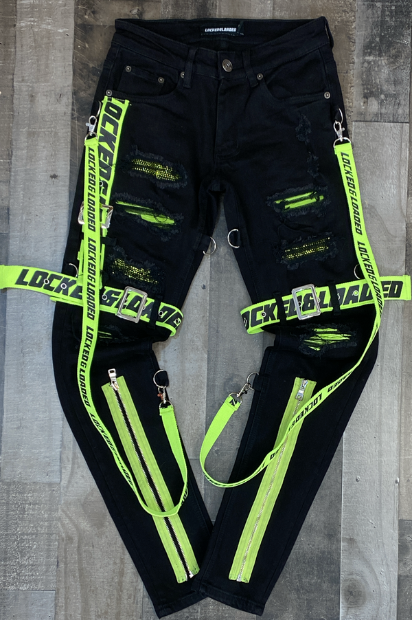 Locked Loaded- locked & loaded strapped jeans (black/fluorescent)