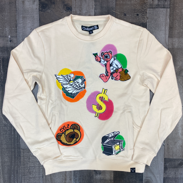 Civilized- multi color graffiti crewneck