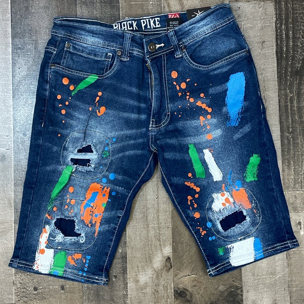 Black pike- paint splatter denim shorts