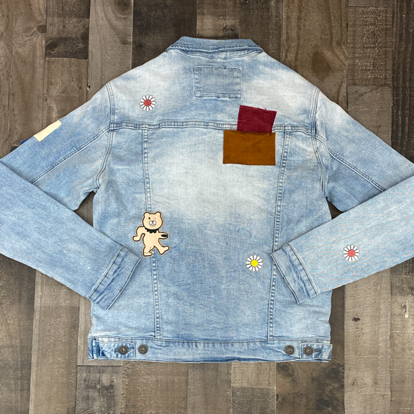 Kloud 9- denim jacket w/ multi bear patches