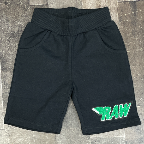 Rawyalty- raw chenille patch shorts (black/green) (kids)