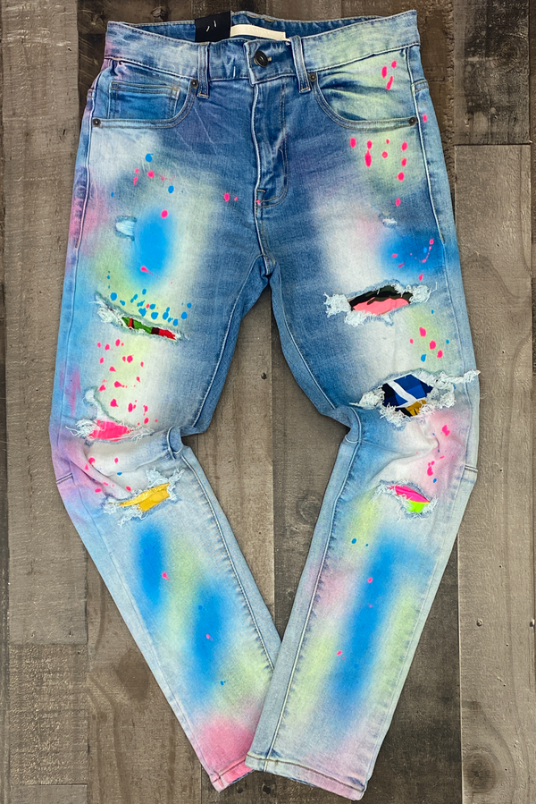 Kloud 9- premium span jeans w/multi color spray