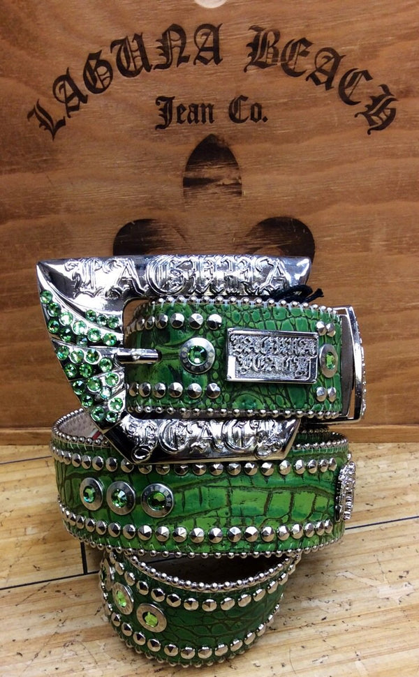 Laguna beach- crystal cove green crocodile leather belt