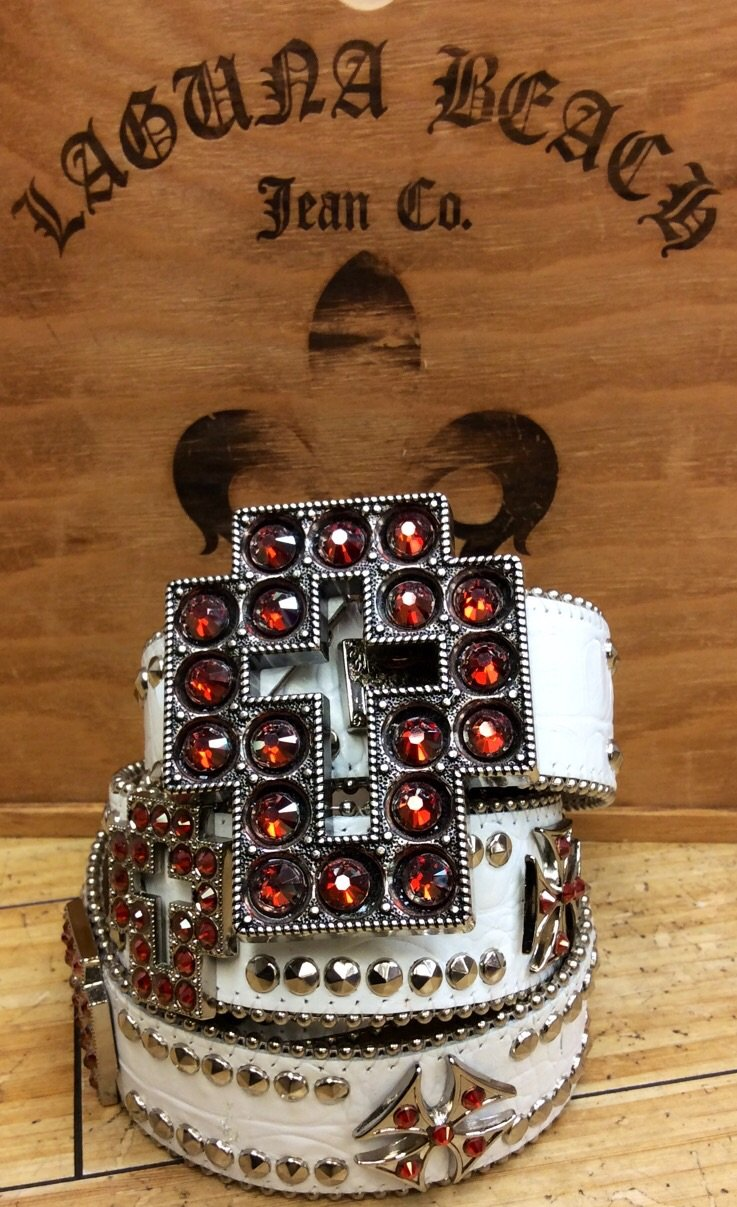 Laguna beach- balboa white crocodile leather belt w.lght orange crystals