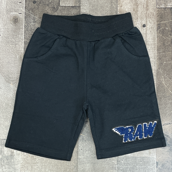 Rawyalty- raw chenille patch shorts (black/navy) (kids)