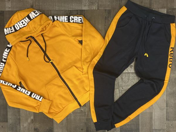 Retro- Fine crew sweatsuit (yellow/navy)