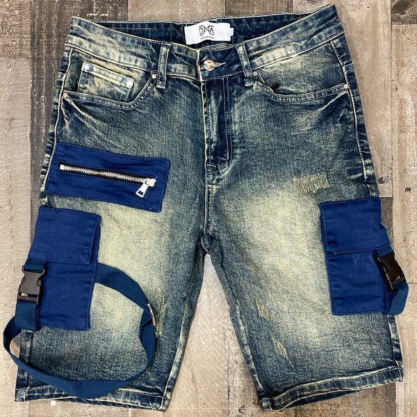 DNA premium wear- denim cargo shorts (blue pockets)