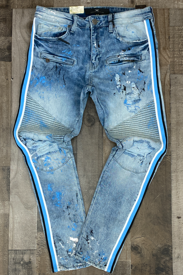 Jordan Craig- painted moto denim jeans with side stripe