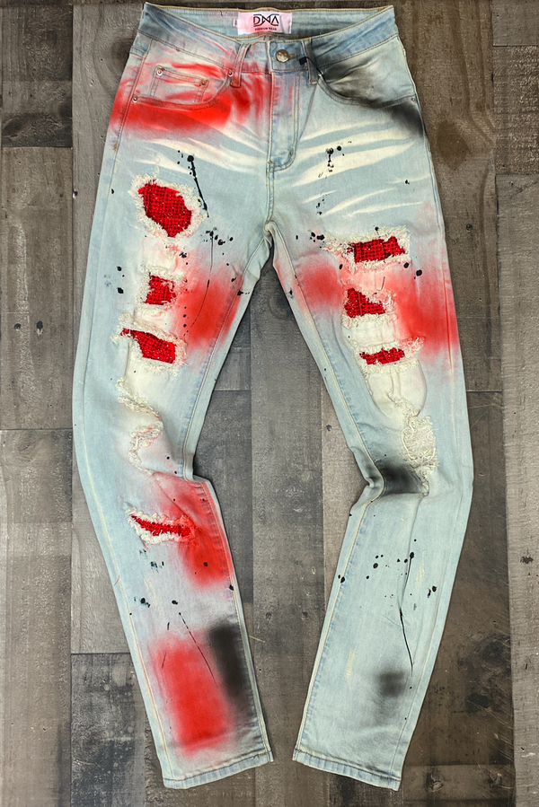 Dna Premium Wear- studded color patch jeans (black/red)