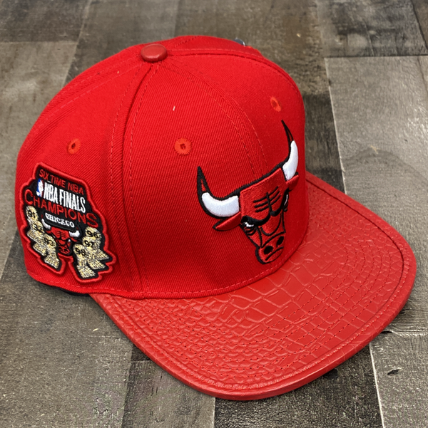 Pro max- Chicago Bulls snapback w/leather bill (red)