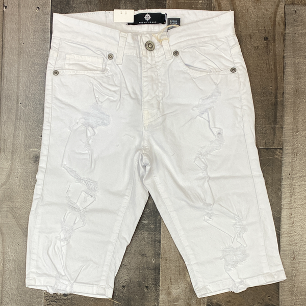 Focus- ripped denim shorts (white)