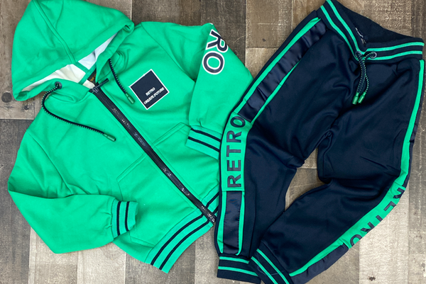 Catox Denim- retro sweatsuit (green/navy) (kids)