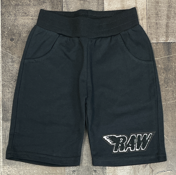 Rawyalty- raw chenille patch shorts (black/black) (kids)