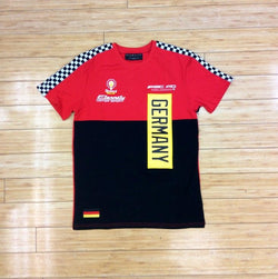 ETERNITY- RED GERMANY MOTO CHECKERED STRIPE SS TEE