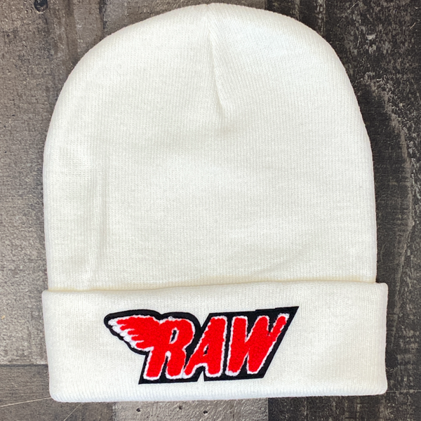Rawyalty- raw chenille patch knit hat (cream/red)
