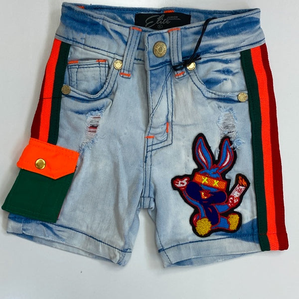 Elite- striped denim shorts w/bunny (kids)