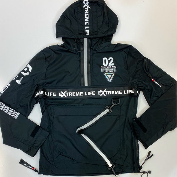 Switch- nylon hoodie w/reflective trim
