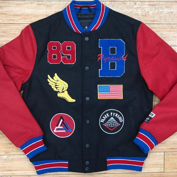 Black pyramid-bp track and field varsity jacket